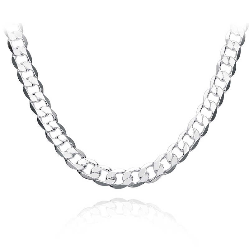 "10MM 22""24""26"" Men Figaro Chain Necklaces For Male 925 Silver Jewelry Statement Necklaces N185"