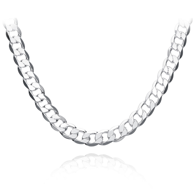"10MM 22""24""26"" Men Figaro Chain Necklace For Male Silver Color Jewelry Statement Necklace N185"