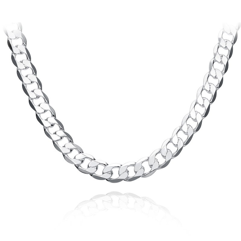 цена на 10MM 222426 Men Figaro Chain Necklaces For Male 925 Silver Jewelry Statement Necklaces N185