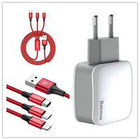 Baseus USB Charger EU Plug And Lighting Micro Type C Charger Cable Suit 2 4A Double