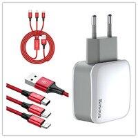 Baseus ładowarka UE wtyczka i Oświetlenie + Micro USB + Ładowarka Kabel Typu C garnitur 2.4A podwójny USB Uniwersalny Podwójna Ładowarka Do telefonu iPhone
