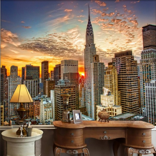 Wallpaper For Walls 3 D Magnificent New York City High Building Scenery Guest Room Decoration Background