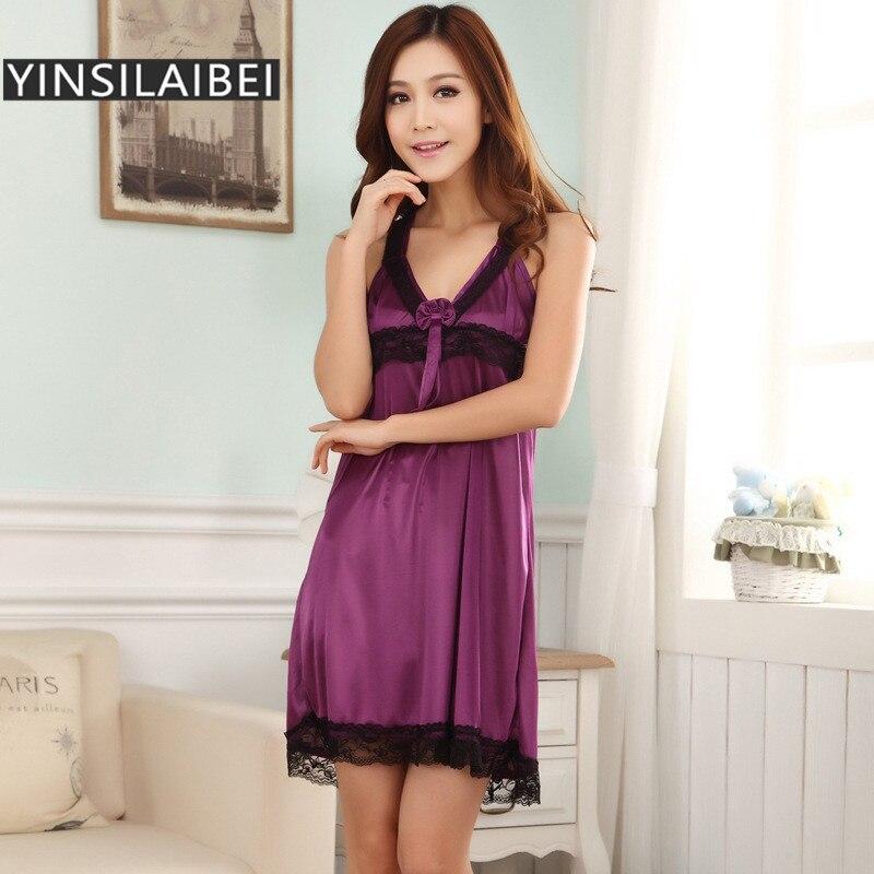 Sommer Sleeveless Silk Satin Nachthemden für Frauen, nachthemd Satin ...