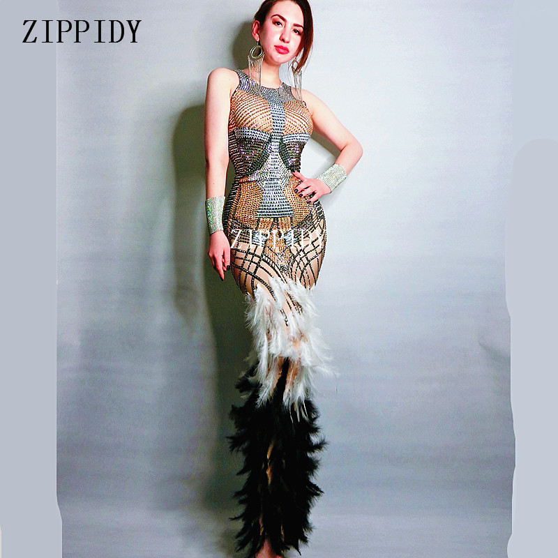 Sexy Design Black White Feather Dress Stage Wear Big Stretch One piece Rhinestones Dress Singer Evening