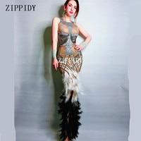 Сексуальный дизайн черный белый перо платье сценическая одежда большой стрейч цельный платье со стразами певица вечернее выступление длин