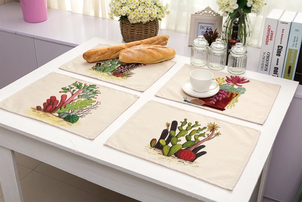 SunnyRain 4/6 Pieces Linen Cotton Succulent Plants Table Cloth Placemat  Sets Table Decoration Table Runners 42x32cm In Tablecloths From Home U0026  Garden On ...