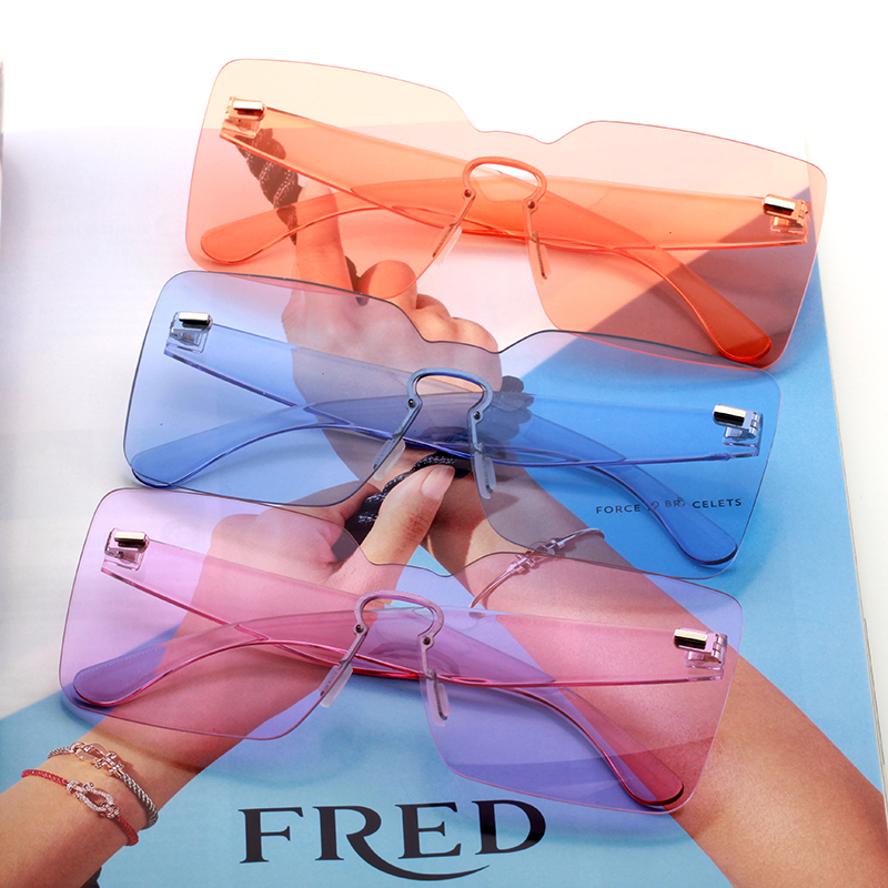 oversized square sunglasses women 2019 yellow orange white green blue big large rimless frameless eyeglasses trending product(China)