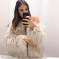 2017Women's Fashion Winter Warm Faux Fur Chaqueta de Pelo de Zorro Abrigo Chaquetas Casacos Femininos Manga Larga Parka Outwear Tallas grandes