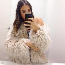 2017Women's Moda Winter Warm Faux Futra Lisa Płaszcz Kurtki Casacos Femininos Długim Rękawem Kurtka Parka Włosów Płaszcz Znosić Plus Size
