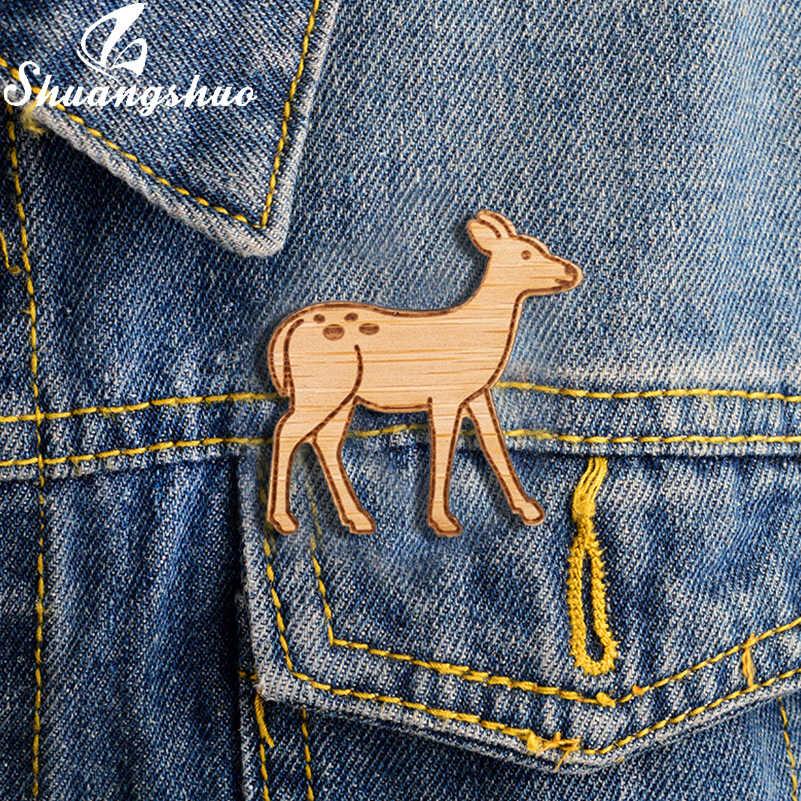 Shuangshuo Deer Brooch Pins Đối Với Phụ Nữ Động Vật Phim Hoạt Hình Men Ve Áo Pin Bằng Gỗ Huy Hiệu Broches Huy Hiệu Denim Quần Áo Phụ Kiện Món Quà