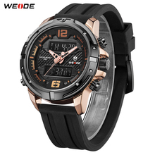 WEIDE New Arrival Luxury Casual Calendar Chronograph Analog LCD Digital Silicone Strap band Quartz Water Resistant Wrist watch