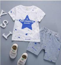 Short Sleeved Childrens Clothing Set Boys Tracksuits  2019 Summer Cotton T-shirt+shorts 2Pcs/set for Baby Girls 1-3 Year QHX003