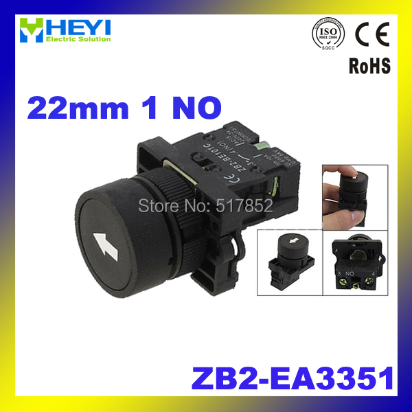 22mm 1 NO N/O Black Sign Momentary Push Button Switch 600V 10A ZB2-EA3351
