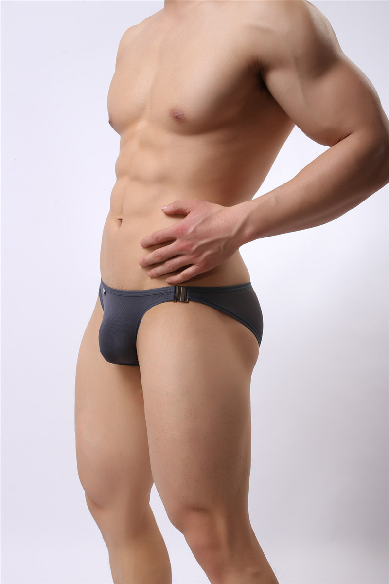 Mens Nylon Slip Small Mesh Breathable Briefs Low Rise Sexy Fashion Lock Buckle Men Bikini Underwear Briefs Brave Person 24