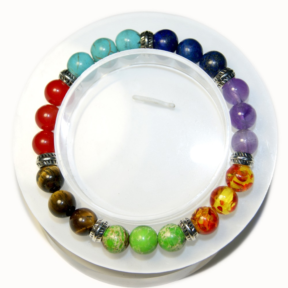2017 New 1 Pz Mens Womens 7 Chakra Bracelets byzylyk Mixed Color Crystal Stone Chakra Healing Mala Bracelet Jewel Of Luting