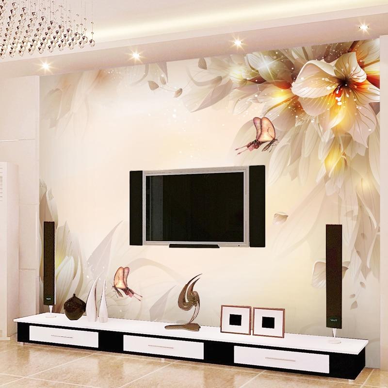 TV background woven cozy living room bedroom modern flower ...