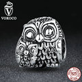 VOROCO 100% 925 Sterling Silver Charming Owls Animal Screw Charms fit Pandora Bracelets Necklaces Beads & Jewelry Makings C036