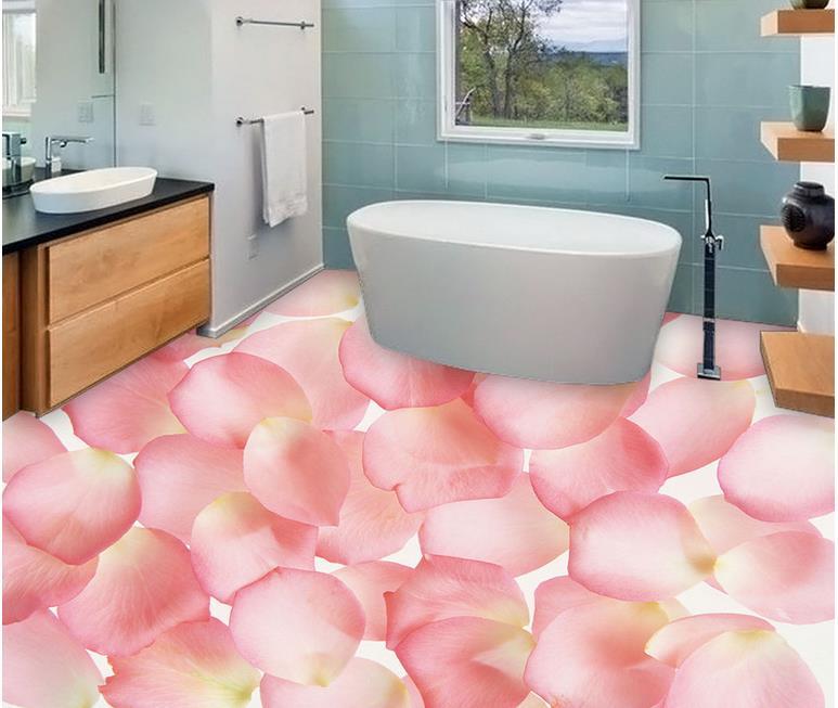 custom 3d flooring Pale pink rose petals 3d stereoscopic wallpaper ...