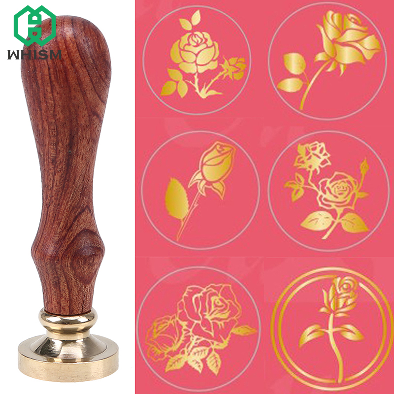 WHISM Retro Rose Wax Seal Stamp Antique Wooden Wax Sealing Stamps Flower Scrapbooking Stamp Wedding Invitation Stamp with Handle 1x wax seal stamp retro wood classic sealing wax seal stamp decorative rose tree of life wedding invitation antique stamp
