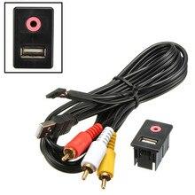 Nuevo 3.5 mm 3 RCA AUX coches USB macho Dash Flush Mount montaje del adaptador Universal