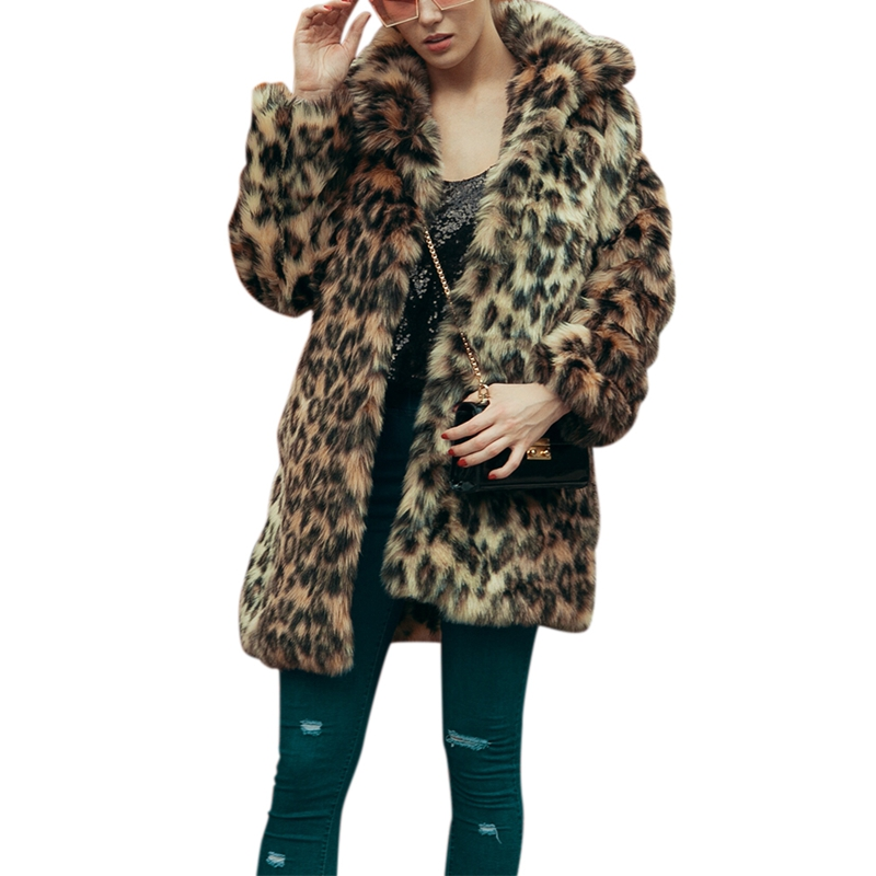 Himanjie Autumn and winter women's leopard print faux fur coat lady's long sleeve Fur coat artificial fur outerwear with buckle