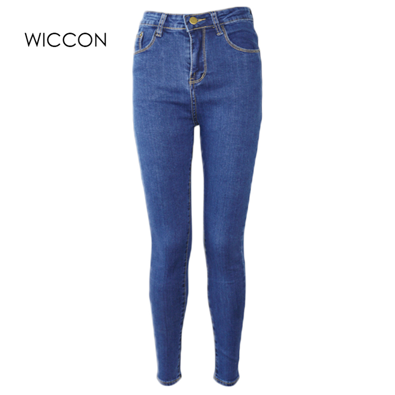 WICCON Slim Jeans For Women Skinny High Waist Blue Denim Pencil Pants Stretch