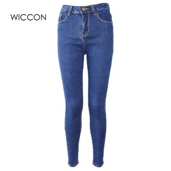 Dopasowane dżinsy dla kobiet Skinny wysokiej talii dżinsy kobieta niebieskie spodnie jeansowe ołówkowe rozciągliwa talia kobiety dżinsy czarne spodnie Feminina tanie i dobre opinie WICCON Poliester COTTON Pełnej długości Osób w wieku 18-35 lat NC8159 Na co dzień Zmiękczania Wysoka Zipper fly Kieszenie