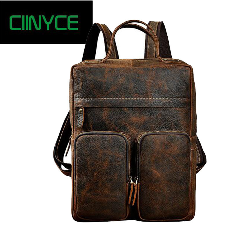 Mens vintage crazy horse rucksack Brand 15 retro Brown genuine Cow leather thick cowhide school Laptop Packs backpack
