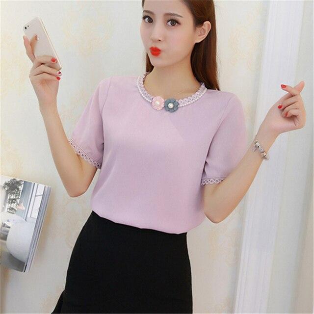 12bee163fd 2017 Nuevas Mujeres Blusas Estilo Coreano de Las Señoras Camisas de La Gasa  2017 Verano Corto