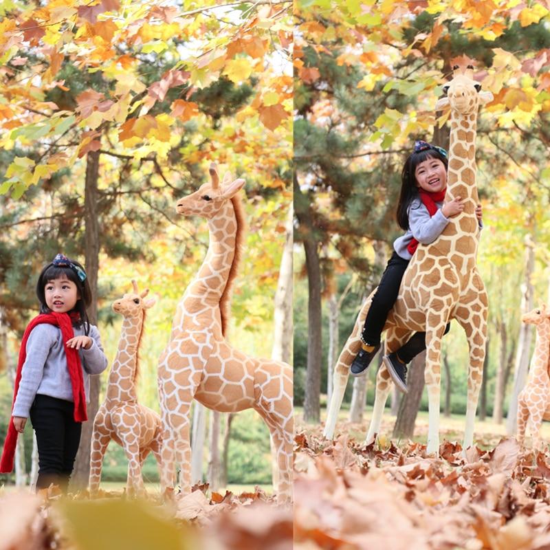 Dorimytrader 5.2feet Biggest Giraffe Plush Toy Giant Simulation Animal Giraffe Doll for Children Gift Home Deco 63inch 160cm