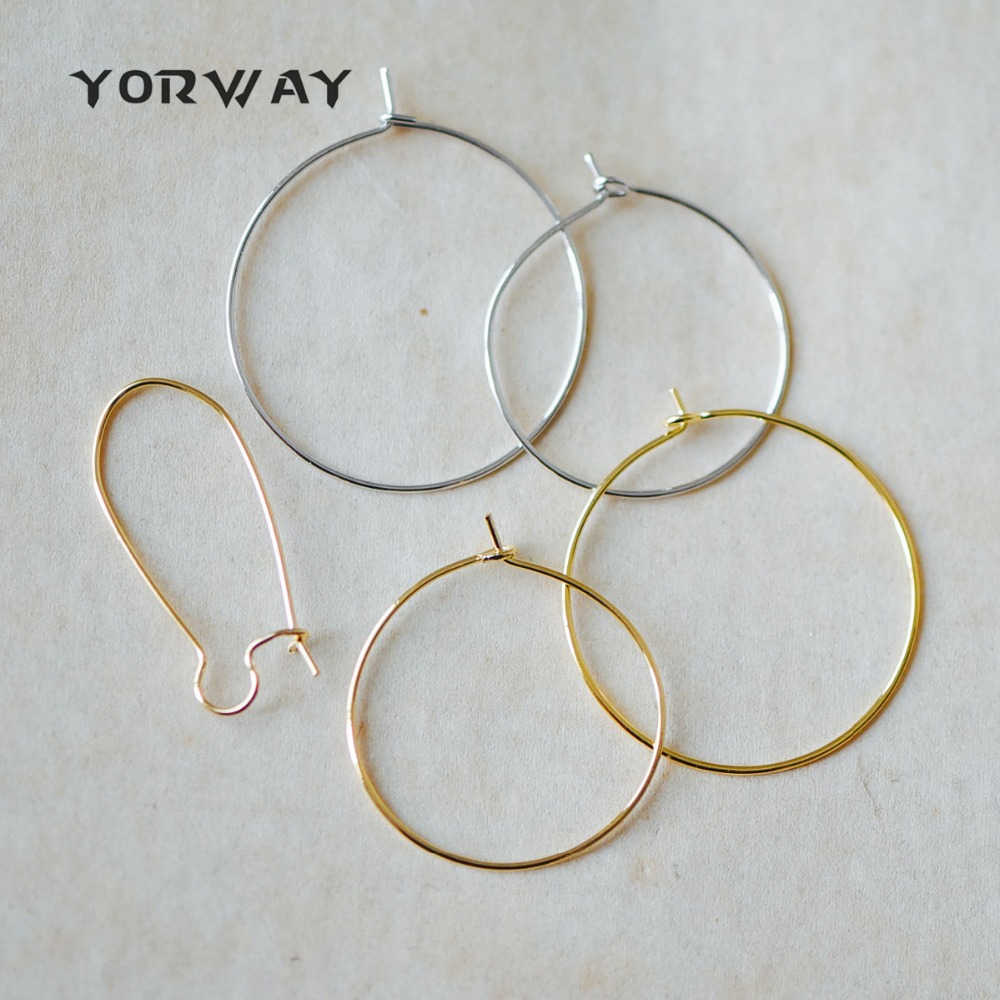 20pcs/ lot Gold/ Silver Hoop Ear Wire, Real Gold/ Rhodium plated ...