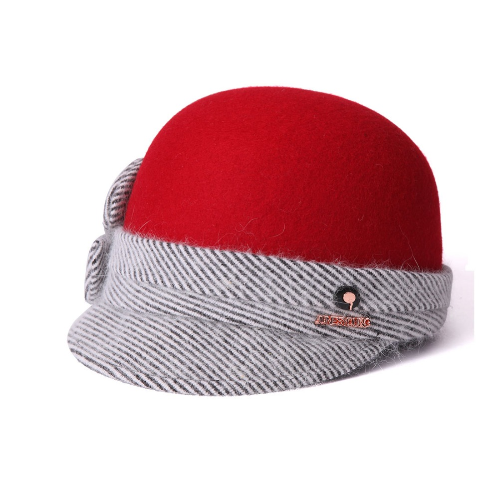 b77ced4c7a0 June s Young Women Hats Red black Two Color Wool and Rabbit Feather Material  High Quality Special Design Cute Lady Wool Fedoras -in Fedoras from Apparel  ...