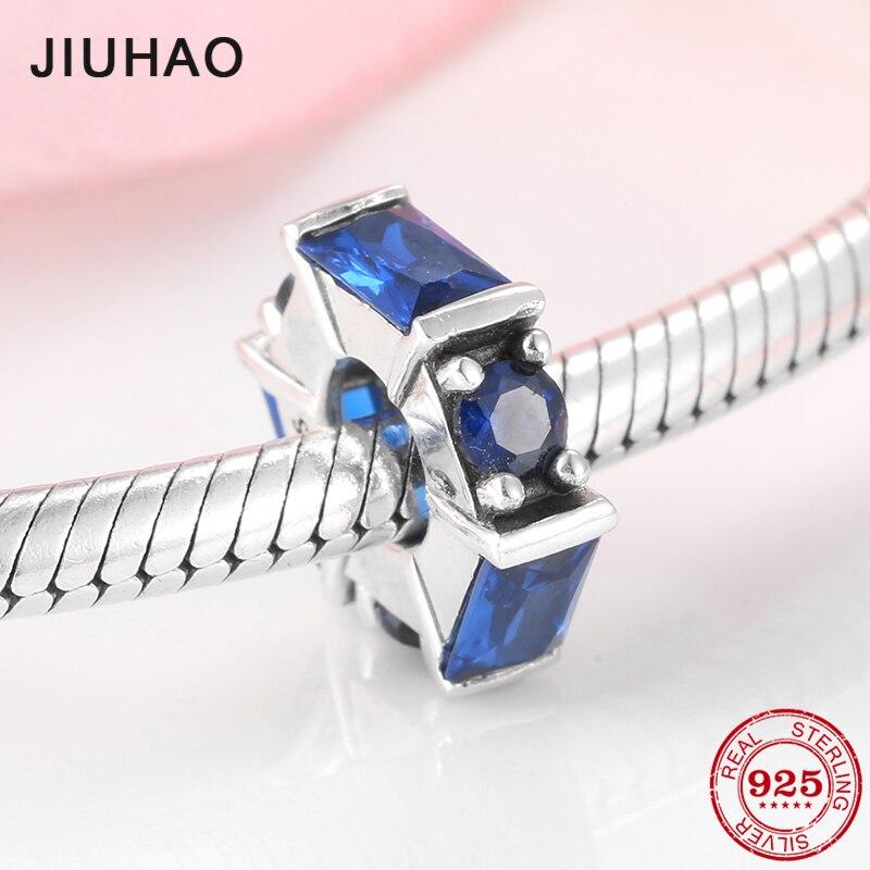 Hot 925 Prata Quadrado e Redondo azul Zircão Encantos beads fit Original Encantos de Pandora Pulseira Diy fazer Jóias