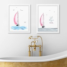 Watercolor Pink Sailboat With Seagulls Wall Art Print Poster , Dream Set Sail Quote Print Canvas Painting Girl's Room Decoration(China)