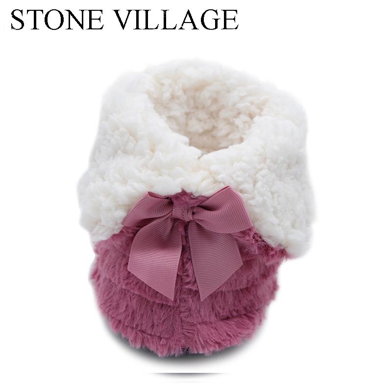 STONE VILLAGE Superior Quality Cute Bow Home Slippers 2018 New Korea Style Print Plush Warm Winter Women Slippers Woman shoes 4