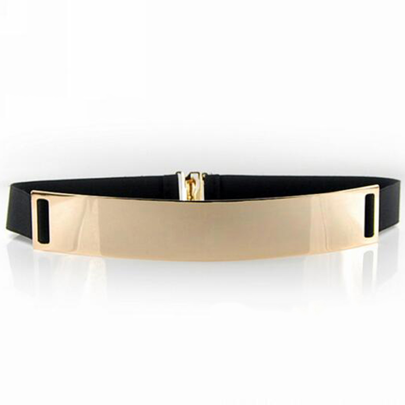 New Fashion Beige Women's Waist Band Elastic Mirror Metal Waist Belt Leather Metallic Bling Gold Plate Wide Obi Band Accessory