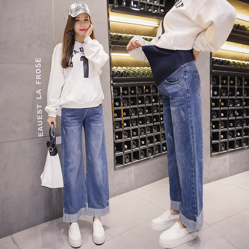 Pregnant Women Autumn Spring Fashion Loose Vintage Denim Wash Wide Leg Pants Maternity Work Clothes Outfit PregnancyJeans Pants striped self tie wide leg pants
