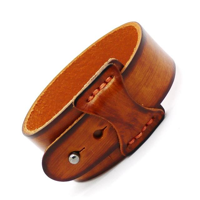 HOT New Accessories Men's Bracelet 2017 Cuff Wide Leather Bracelet Retro Fashion Bracelet Men and Women Jewelry