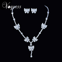 VOGUESS Brand New Cute Butterfly Jewelry Set Stellux Austrian Crystal Zircon Beads Earrings and Necklace Surprise Gift with Box
