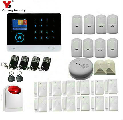 YobangSecurity WiFi 3G WCDMA/CDMA RFID Wireless smart Home Security Alarm System Wireless Flash Strobe Siren Smoke Detector