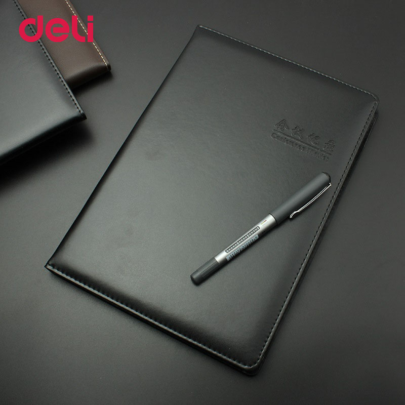 Deli Office Stationery Leather Notebook For school 25K business notebook 96sheets diary notebooks Diary Journal Sketchbook Paper deli 3164 notebook business meeting diary book with a gel pen black leather stationery thick notebook