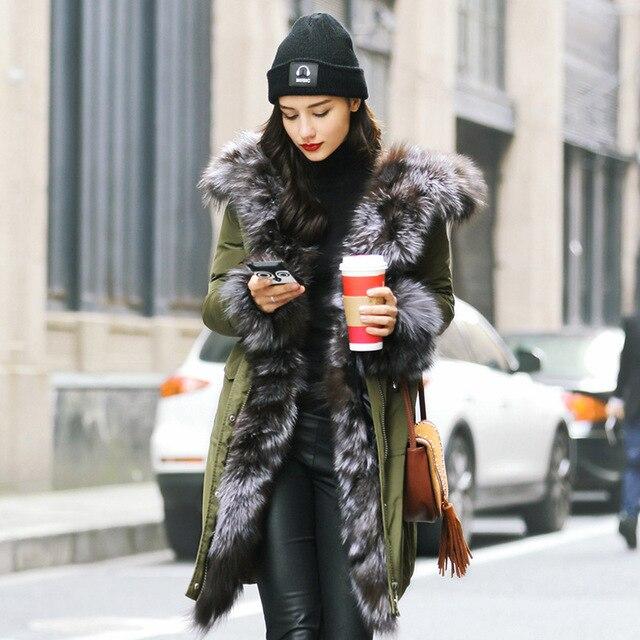 Luxo Elegante Real Fox Gola de Pele de Mulheres Jaqueta de Inverno Quente Outwear Para Baixo Casacos Parka 2016 Com Capuz Fino Feminino Roupas GQ1682