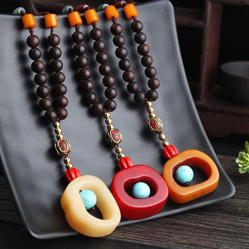 4674b18c2dcf WEIYU étnico cuentas de madera collar hecho a mano joyería de Nepal Natural  Yak hueso colgante ...