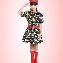 Children dance clothing male lotus show camouflage modern dance doll soldier uniform skirt female performance