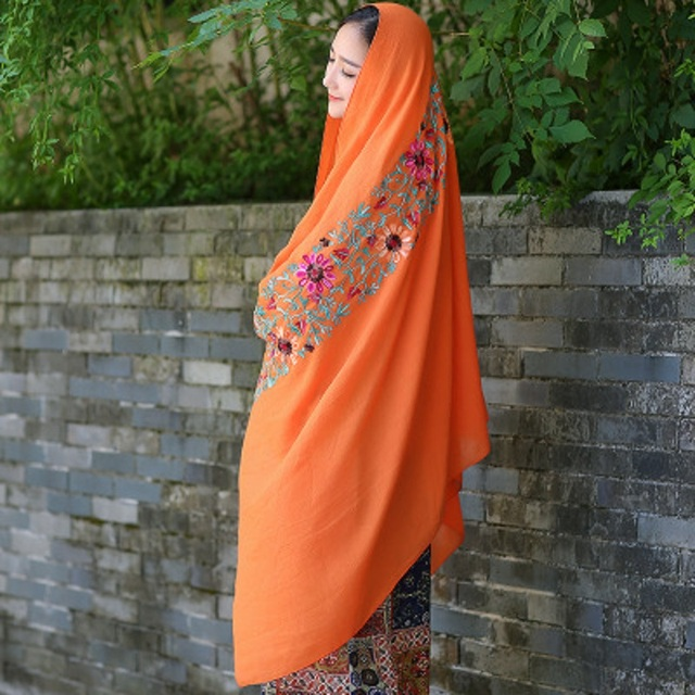 2016 Autumn Winter Womens Scarves Cotton Linen Blend Blanket Scarf Luxury Brand Embroidery Floral Echarpes Foulards Femme Orange