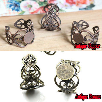 10PCS Fit 8mm Adjustable Peach heart Filigree Ring Blank Jewelry Settings Antique Bronze-Antique Copper Round Glue Pad [haotian vegetarian] antique copper wrap angle corner piece antique furniture copper fittings htg 045