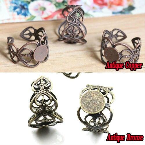 10 шт., 8 мм, регулируемое кольцо в форме сердца персика, пустые украшения, античные бронзовые и античные медные круглые клеевые накладки