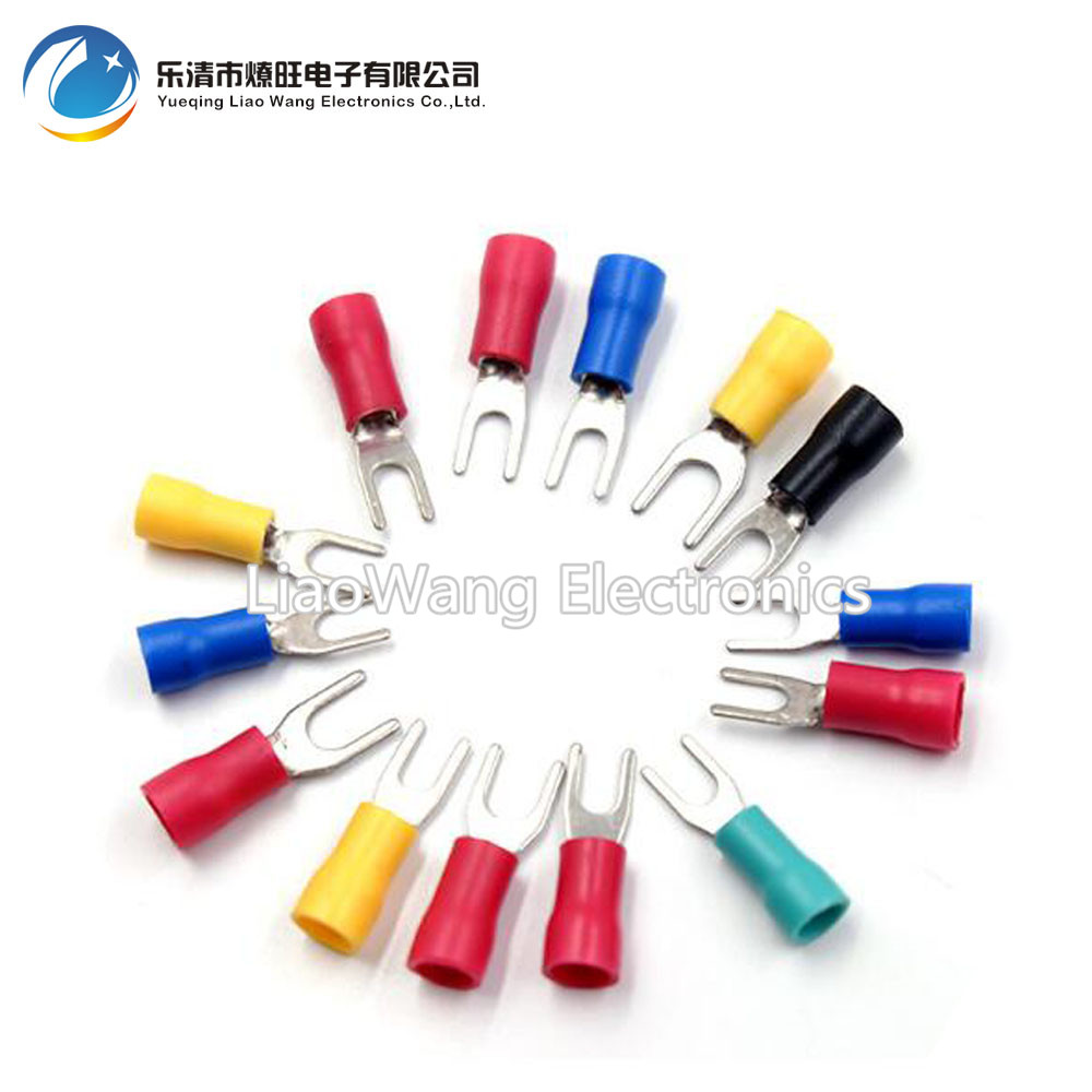 100PCS/LOT SV1.25-3.2/3.5/3.7/4/5/6/8 Cold pressing end head fork-shaped insulated end head u-shaped end head