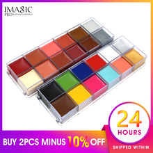 IMAGIC 12 Color Pigment Halloween Professional Masquerade Body Painting Paint Clown Face Paint Body Tattoo Painting party cosplay zombie teeth 6 color face body painting pigment white red multi color