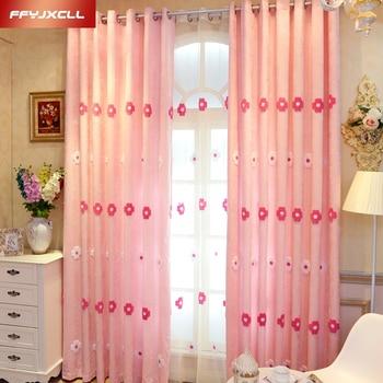 Rosa Handtuch Bestickt Blackout Vorhang Für Mädchen Wohnzimmer Schlafzimmer  Blumen Tüll Vorhang Behandlung Vorhänge Dekoration